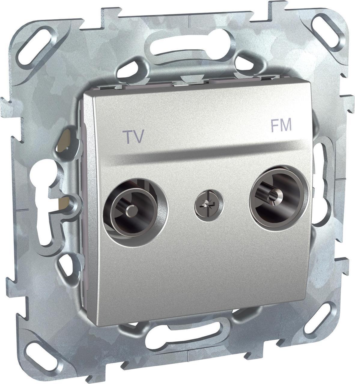 Розетка телевизионная оконечная ТV-FМ , Алюминий, серия UNICA TOP/CLASS, Schneider Electric
