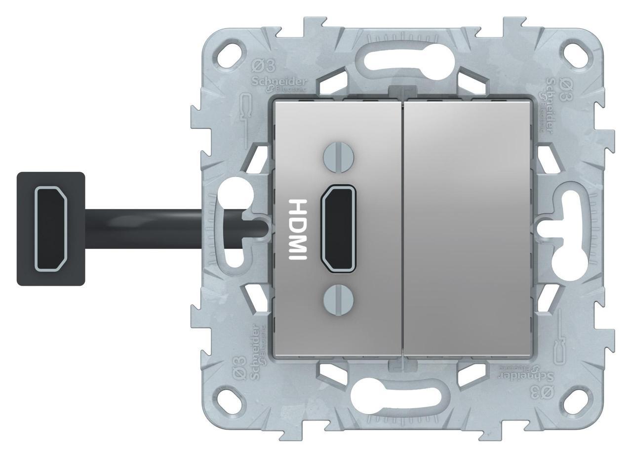 Розетка HDMI , Алюминий, серия Unica New, Schneider Electric