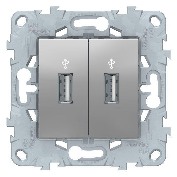Розетка USB 2-ая , Алюминий, серия Unica New, Schneider Electric