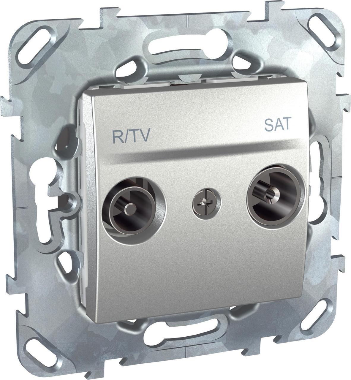 Розетка телевизионная проходная ТV-FМ-SАТ , Алюминий, серия UNICA TOP/CLASS, Schneider Electric
