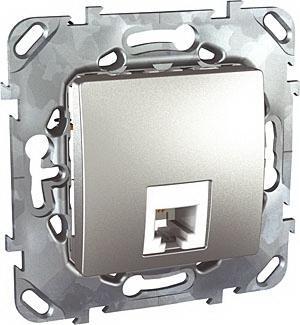 Розетка телефонная 1-ая 4 контакта, RJ-11 , Алюминий, серия UNICA TOP/CLASS, Schneider Electric