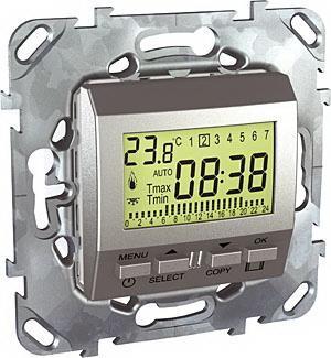 Термостат комнатный программируемый , Алюминий, серия UNICA TOP/CLASS, Schneider Electric