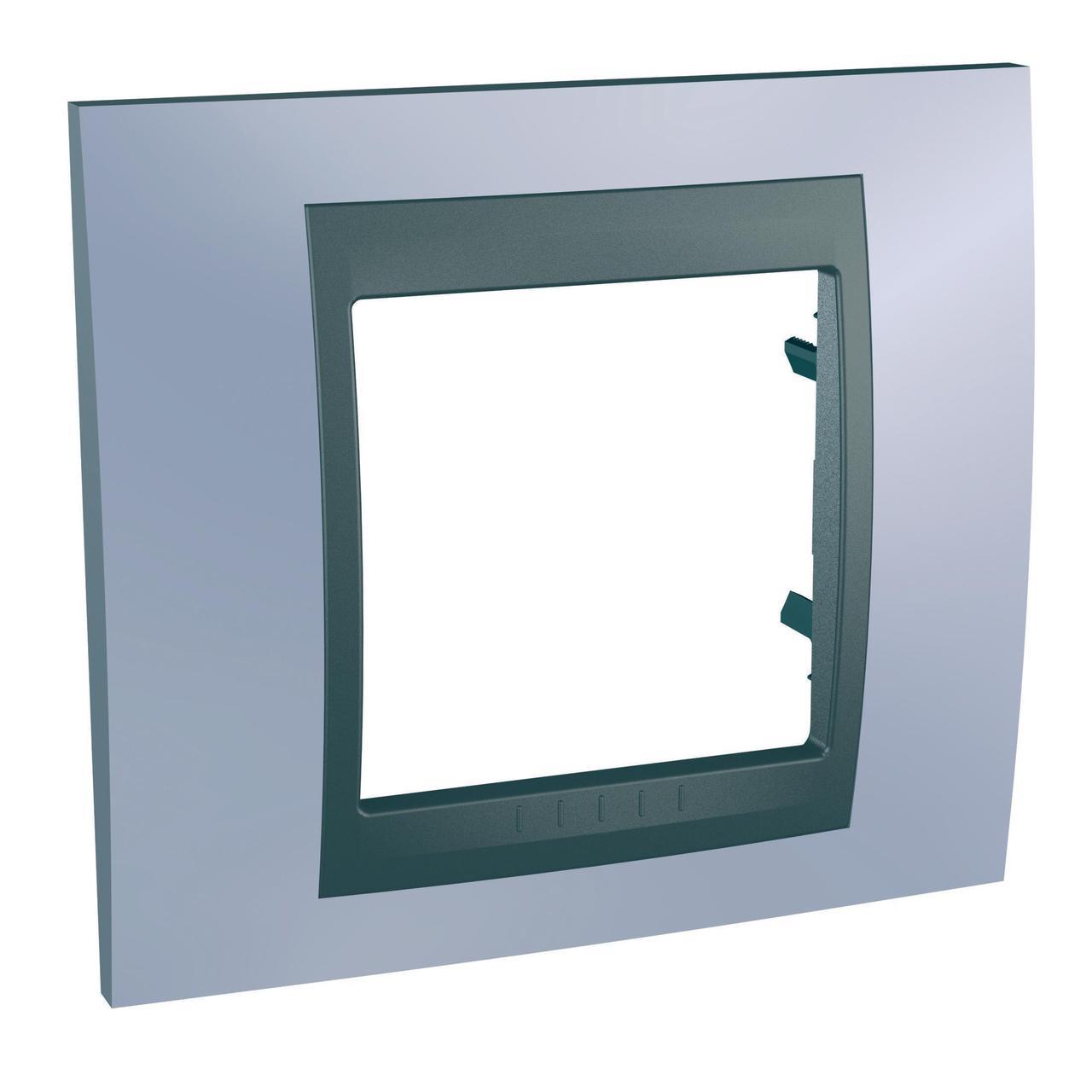 Рамка 1-ая (одинарная), Берилл/Графит (металл), серия UNICA TOP/CLASS, Schneider Electric