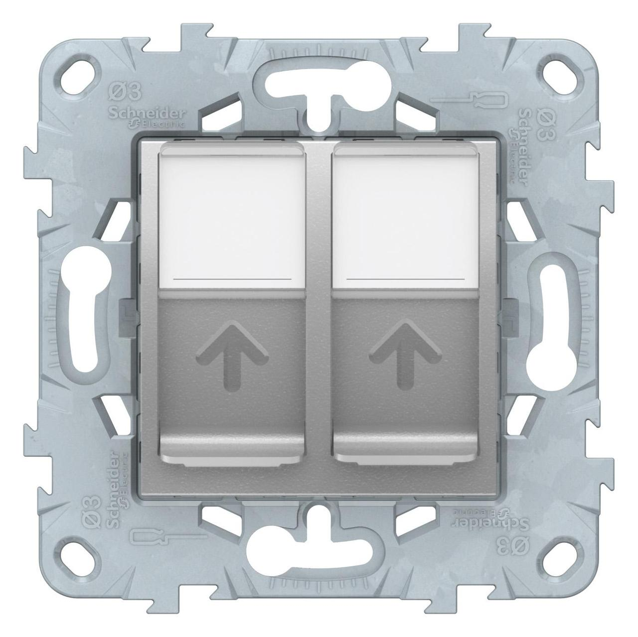 Розетка компьютерная 2-ая кат.5е, RJ-45 (интернет) , Алюминий, серия Unica New, Schneider Electric