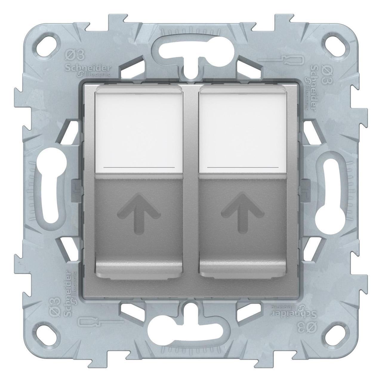 Розетка компьютерная 2-ая кат.6, RJ-45 (интернет) , Алюминий, серия Unica New, Schneider Electric