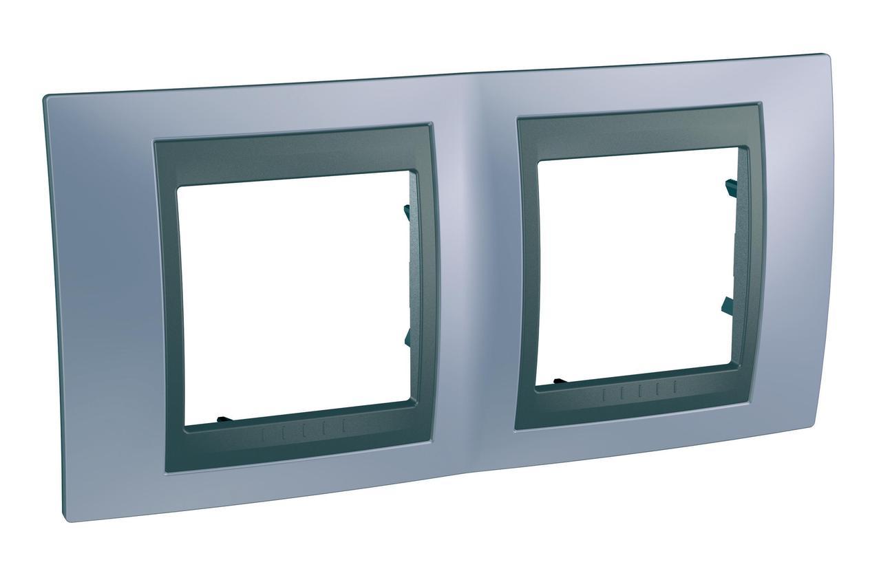 Рамка 2-ая (двойная), Берилл/Графит (металл), серия UNICA TOP/CLASS, Schneider Electric
