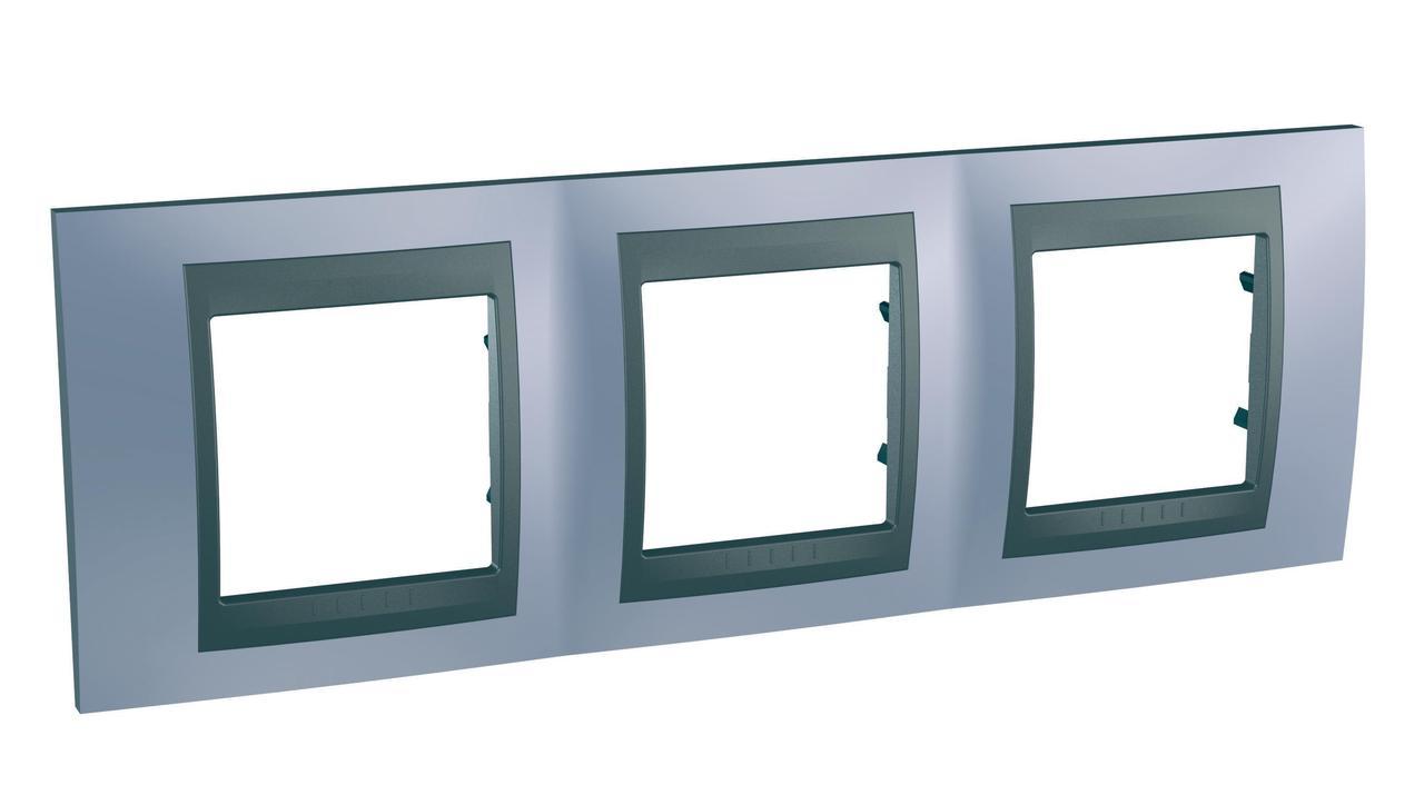 Рамка 3-ая (тройная), Берилл/Графит (металл), серия UNICA TOP/CLASS, Schneider Electric