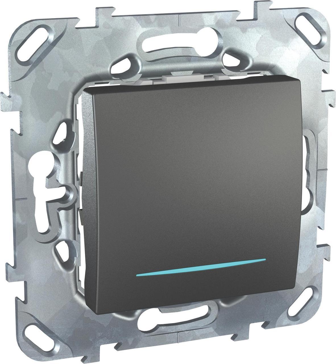 Выключатель 1-клавишный , с подсветкой , Графит, серия UNICA TOP/CLASS, Schneider Electric