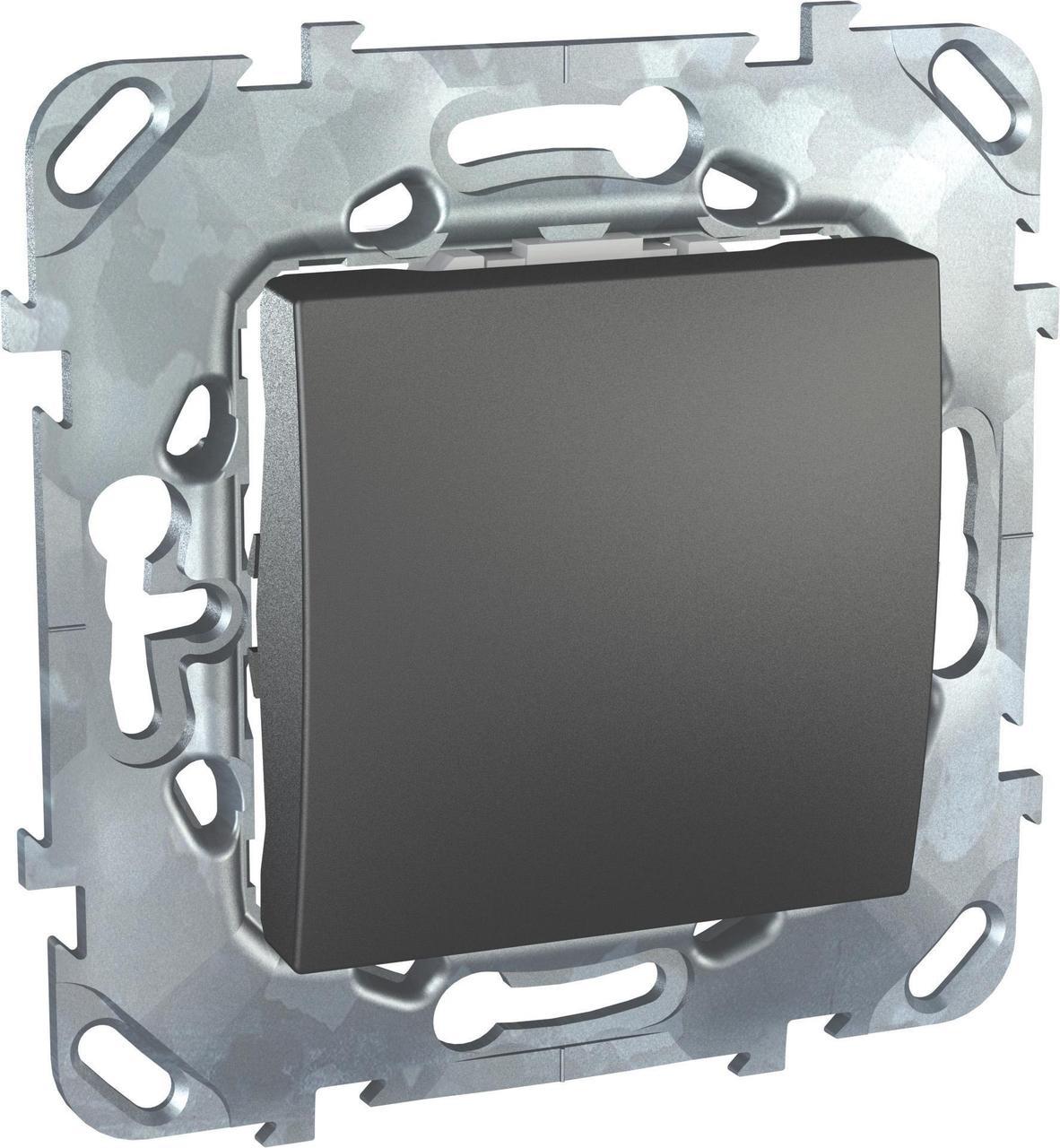 Выключатель 1-клавишный; кнопочный , Графит, серия UNICA TOP/CLASS, Schneider Electric