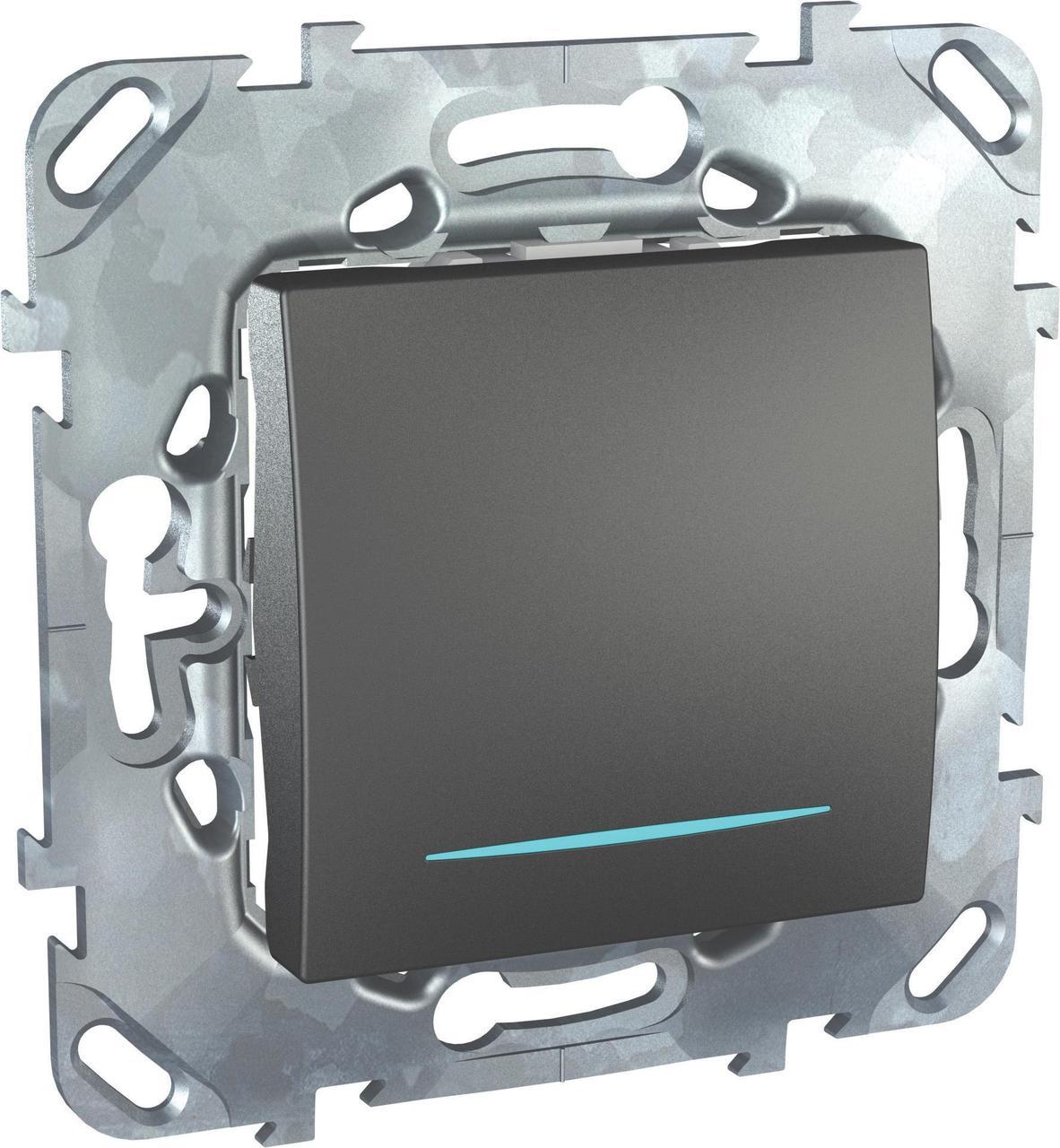 Выключатель 1-клавишный; кнопочный с подсветкой , Графит, серия UNICA TOP/CLASS, Schneider Electric