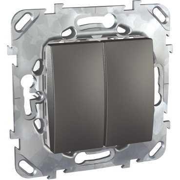 Выключатель 2-клавишный , Графит, серия UNICA TOP/CLASS, Schneider Electric