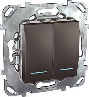 Выключатель 2-клавишный , с подсветкой , Графит, серия UNICA TOP/CLASS, Schneider Electric