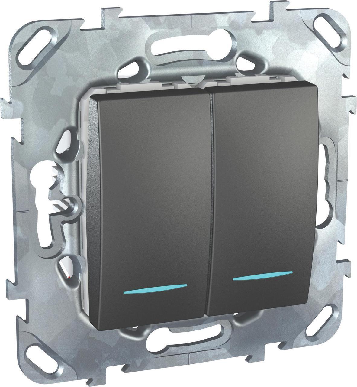 Выключатель 2-клавишный проходной с подсветкой (с двух мест) , Графит, серия UNICA TOP/CLASS, Schneider
