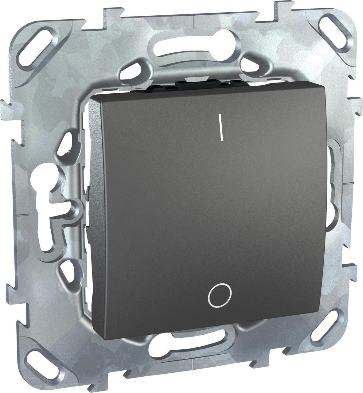 Выключатель 2-полюсный 1-клавишный 16А , Графит, серия UNICA TOP/CLASS, Schneider Electric