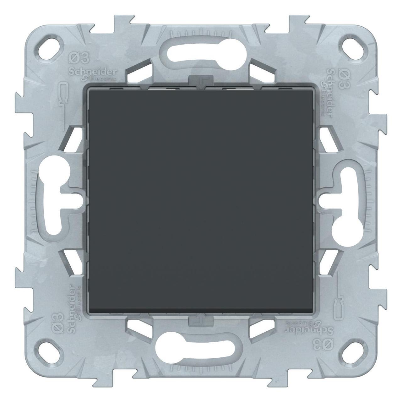 Выключатель 1-клавишный, перекрестный (с трех мест) , Антрацит, серия Unica New, Schneider Electric