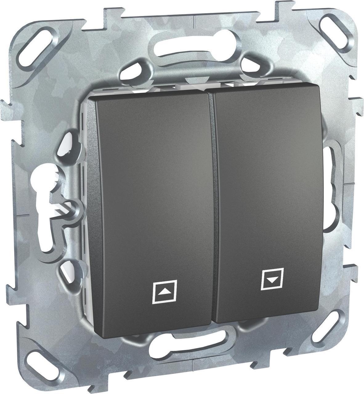 Выключатель для жалюзи (рольставней) кнопочный , Графит, серия UNICA TOP/CLASS, Schneider Electric