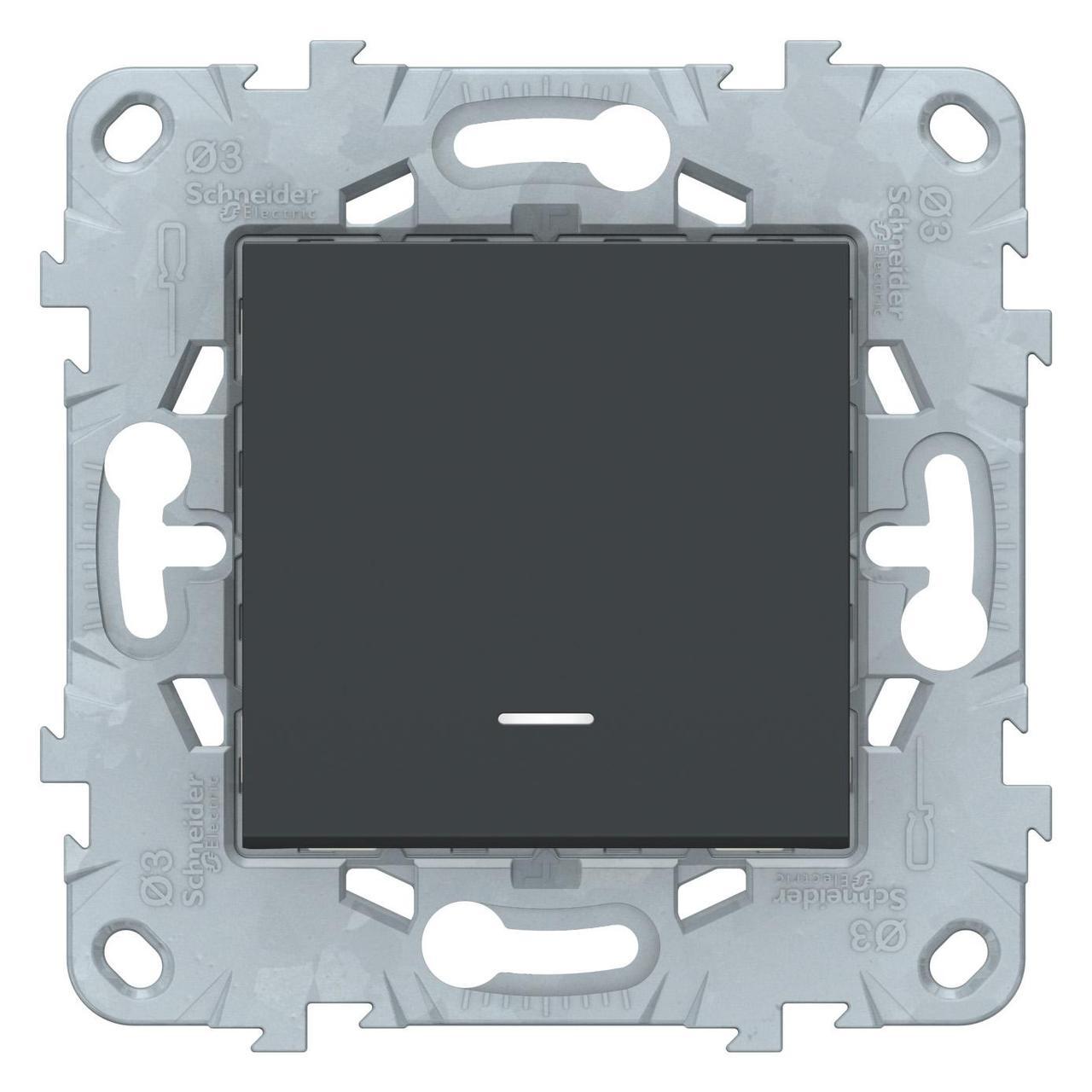 Выключатель 1-клавишный; кнопочный с подсветкой , Антрацит, серия Unica New, Schneider Electric