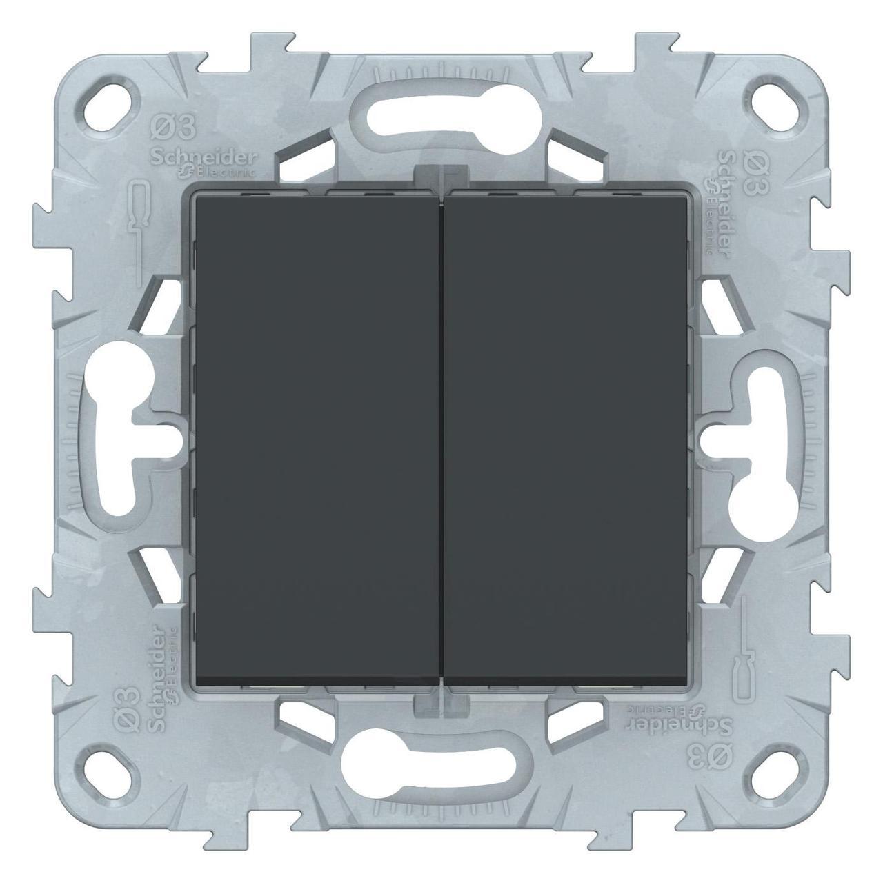 Выключатель 2-клавишный , Антрацит, серия Unica New, Schneider Electric