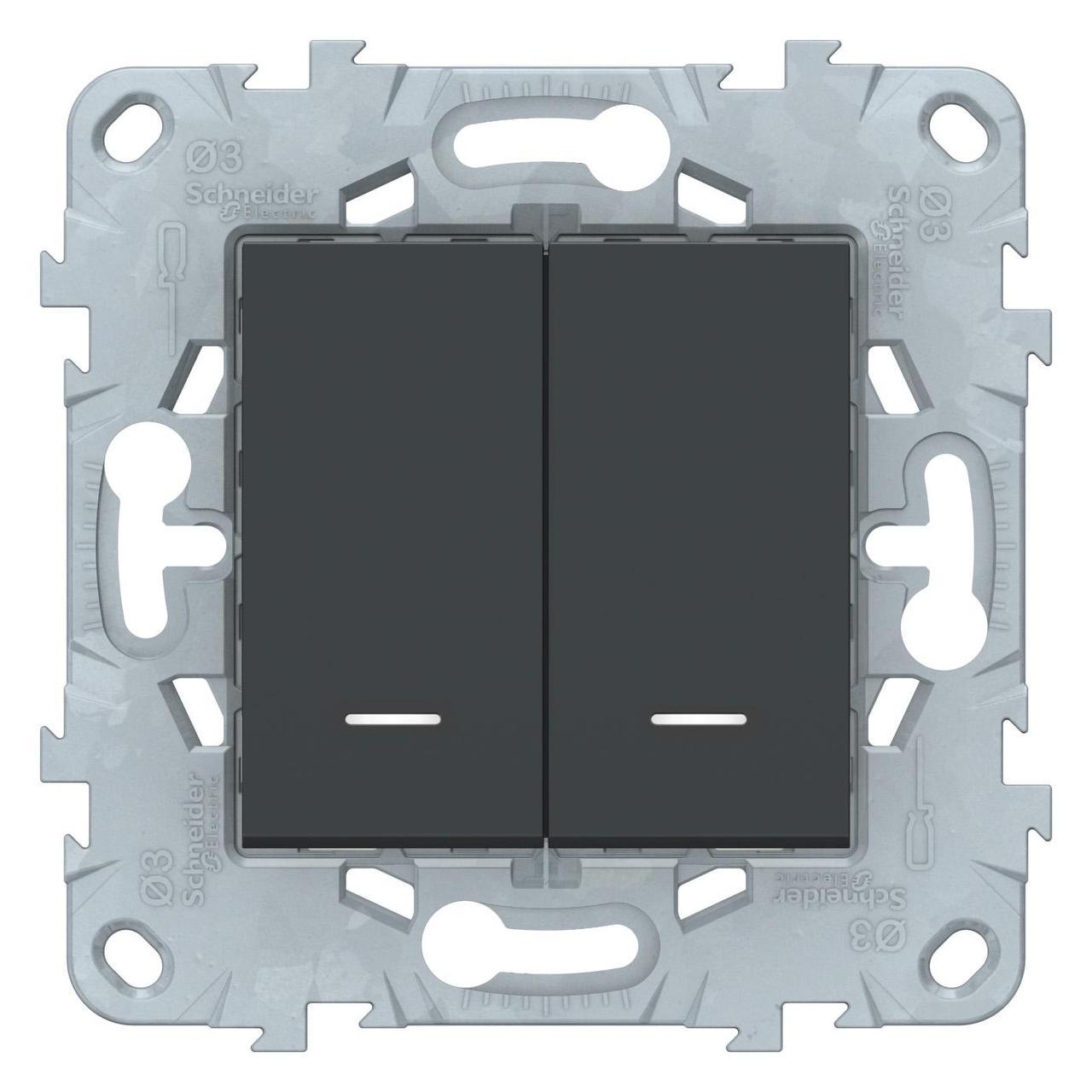 Выключатель 2-клавишный , с подсветкой , Антрацит, серия Unica New, Schneider Electric