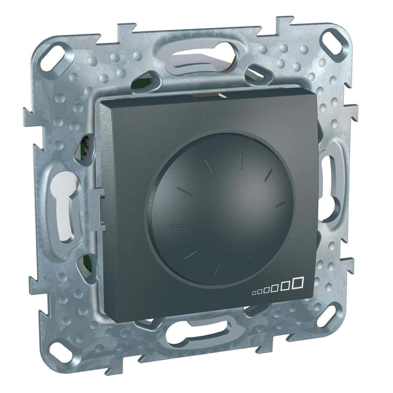 Диммер поворотно-нажимной , 400Вт LED универсальны , Графит, серия UNICA TOP/CLASS, Schneider Electric