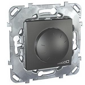 Диммер поворотно-нажимной , 400Вт для ламп накаливания , Графит, серия UNICA TOP/CLASS, Schneider Electric