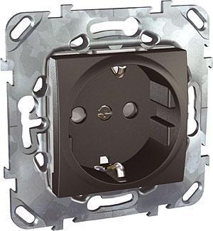 Розетка 1-ая электрическая , с заземлением и защитными шторками (винтовой зажим) , Графит, серия UNICA TOP/CLASS, Schneider Electric
