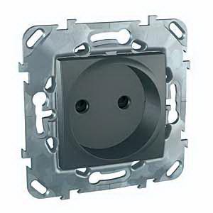 Розетка 1-ая электрическая без заземления с защитными шторками , Графит, серия UNICA TOP/CLASS, Schneider