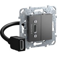 Розетка HDMI 1-ая (разветвительный кабель) , Графит, серия UNICA TOP/CLASS, Schneider Electric