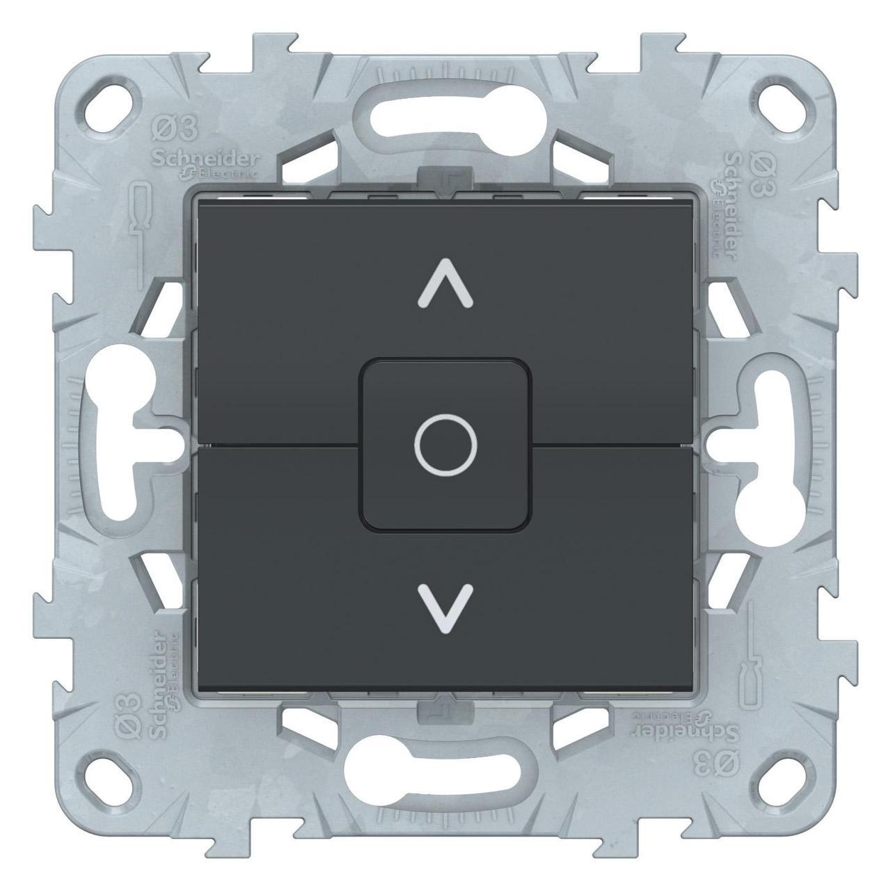 Выключатель для жалюзи (рольставней) с фиксацией , Антрацит, серия Unica New, Schneider Electric