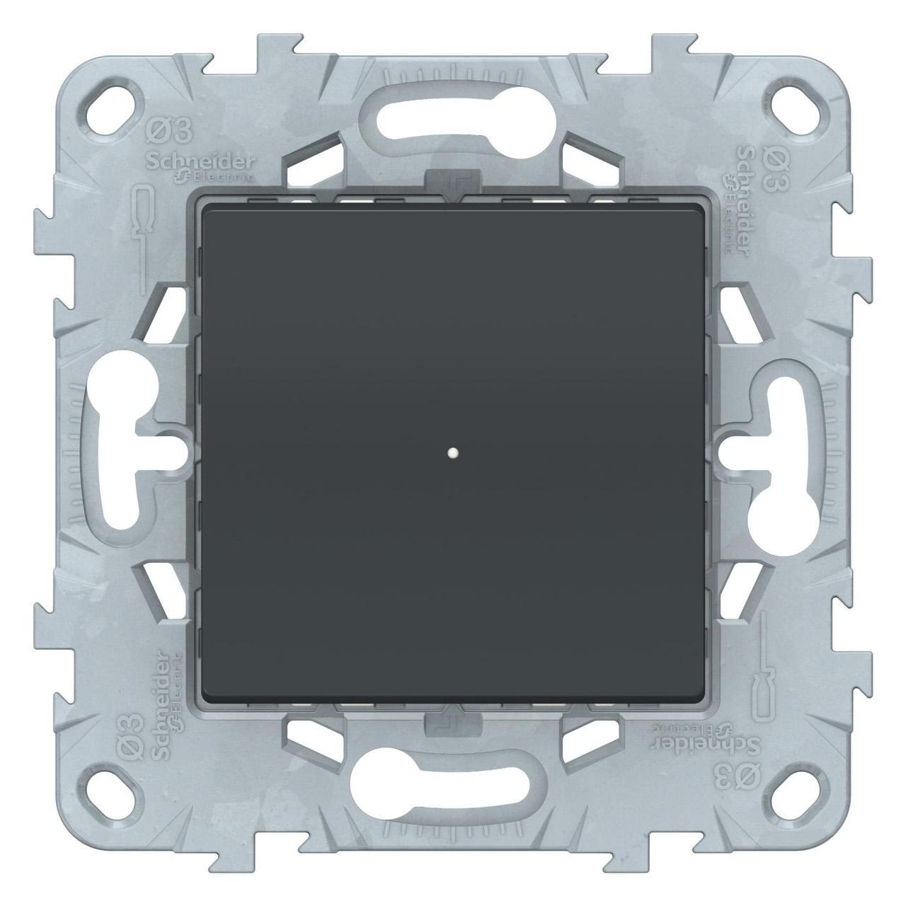 Диммер поворотно-нажимной , 200Вт LED универсальны , Антрацит, серия Unica New, Schneider Electric