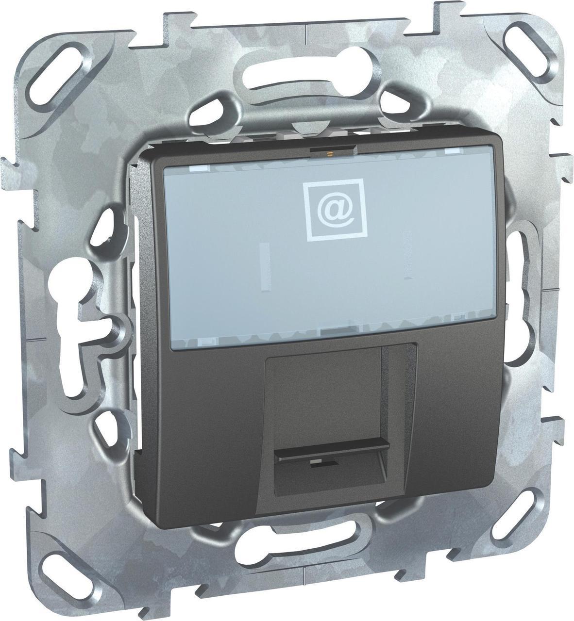 Розетка компьютерная 1-ая кат.6, RJ-45 (интернет) , Графит, серия UNICA TOP/CLASS, Schneider Electric
