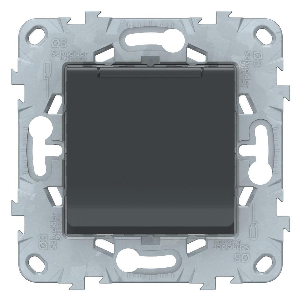 Розетка 1-ая электрическая , с заземлением и крышкой, защитными шторками , Антрацит, серия Unica New, Schneider Electric