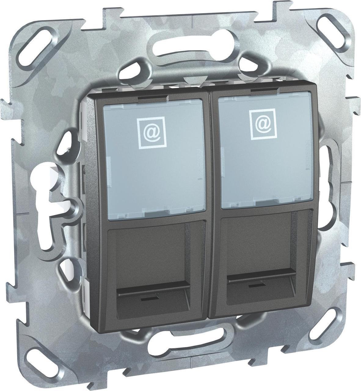 Розетка компьютерная 2-ая кат.5е, RJ-45 (интернет) , Графит, серия UNICA TOP/CLASS, Schneider Electric