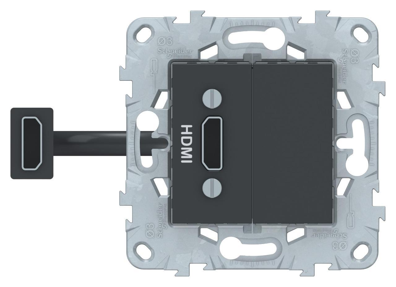 Розетка HDMI , Антрацит, серия Unica New, Schneider Electric