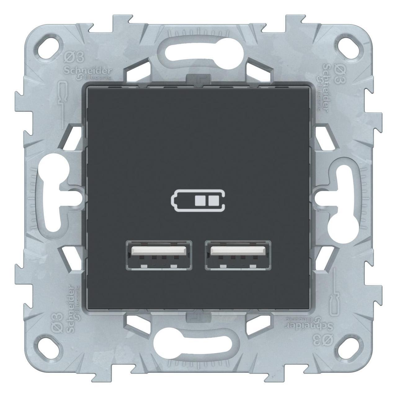 Розетка USB 2-ая (для подзарядки) , Антрацит, серия Unica New, Schneider Electric
