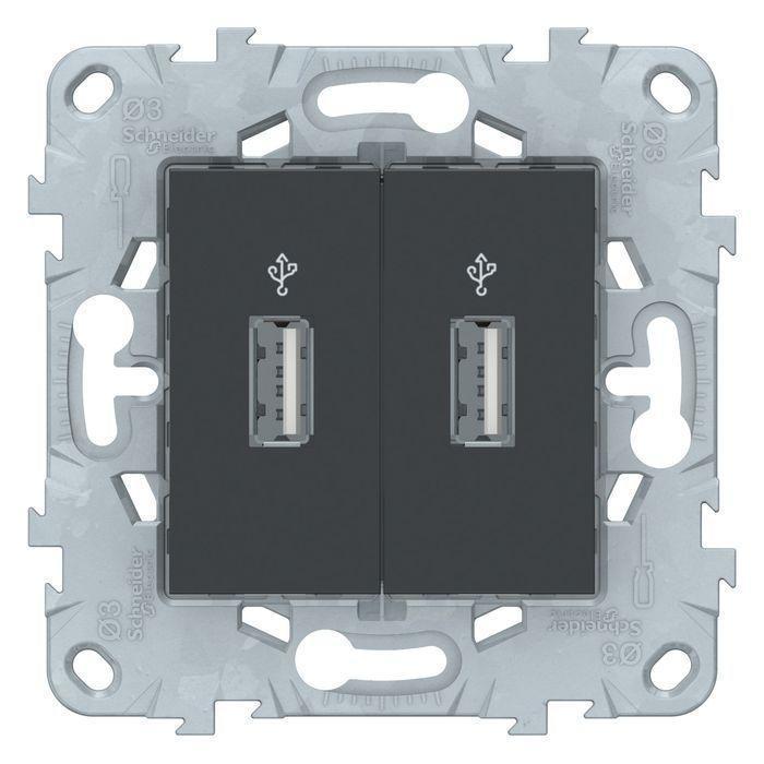 Розетка USB 2-ая , Антрацит, серия Unica New, Schneider Electric