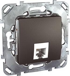 Розетка телефонная 1-ая 4 контакта, RJ-11 , Графит, серия UNICA TOP/CLASS, Schneider Electric