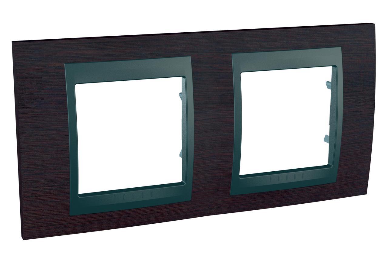 Рамка 2-ая (двойная), Дерево Венге/Графит, серия UNICA TOP/CLASS, Schneider Electric