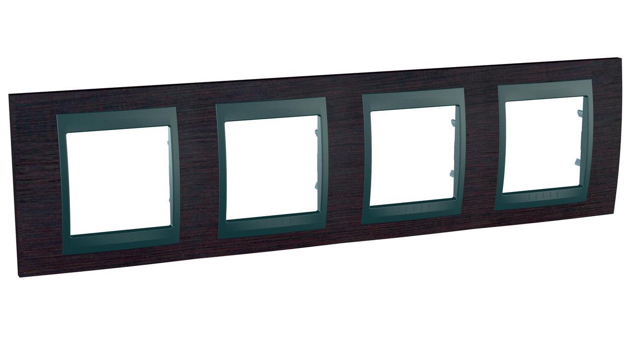 Рамка 4-ая (четверная), Дерево Венге/Графит, серия UNICA TOP/CLASS, Schneider Electric