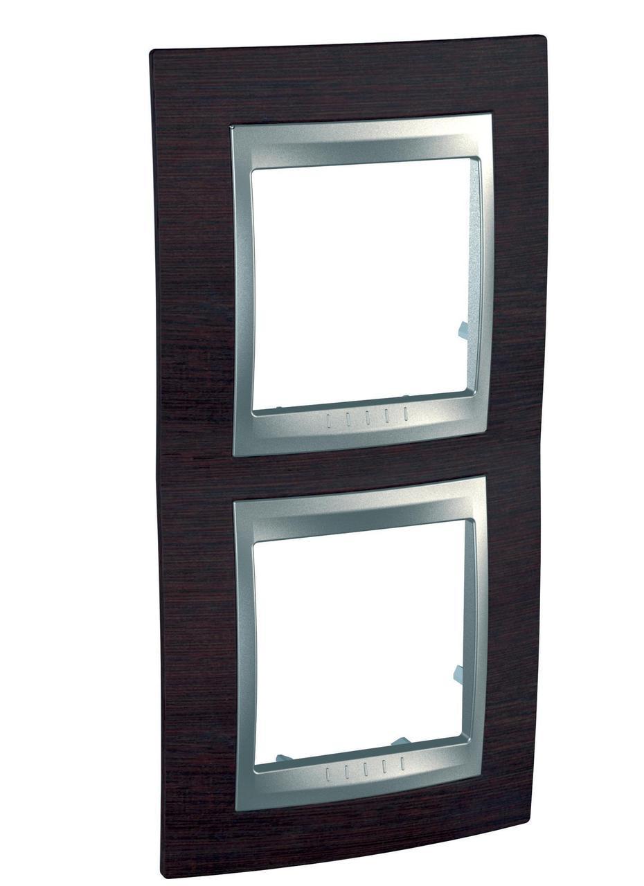 Рамка 2-ая (двойная) вертикальная, Дерево Венге/Алюминий, серия UNICA TOP/CLASS, Schneider Electric