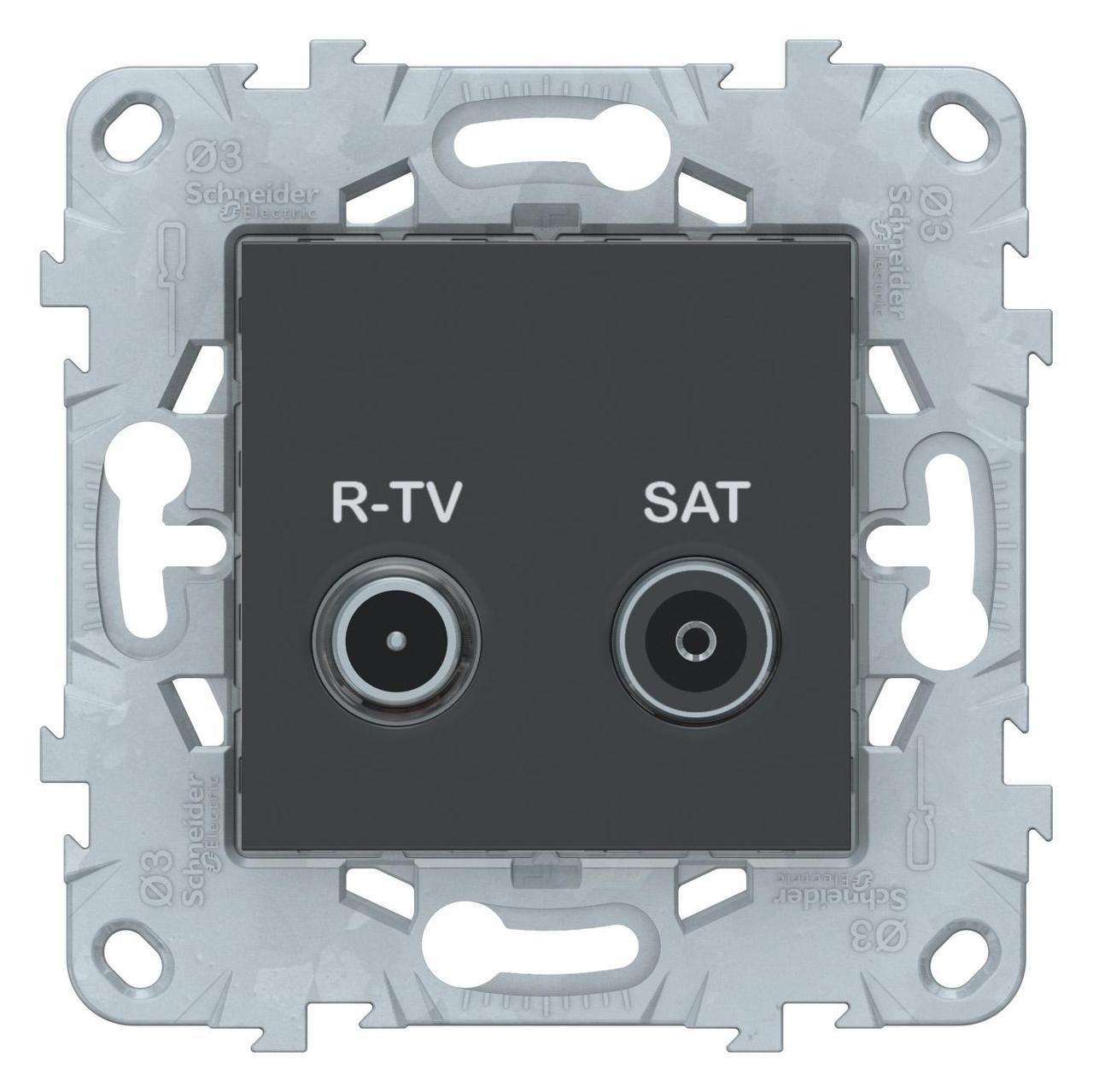 Розетка телевизионная единственная ТV-SAT , Антрацит, серия Unica New, Schneider Electric