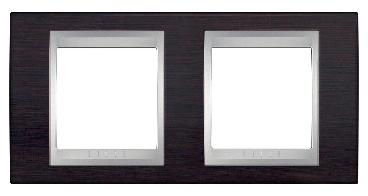 Рамка 2-ая (двойная), Дерево Венге/Алюминий, серия UNICA TOP/CLASS, Schneider Electric