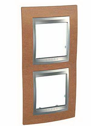 Рамка 2-ая (двойная) вертикальная, Дерево Вишня/Алюминий, серия UNICA TOP/CLASS, Schneider Electric