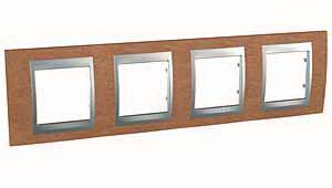 Рамка 4-ая (четверная), Дерево Вишня/Алюминий, серия UNICA TOP/CLASS, Schneider Electric