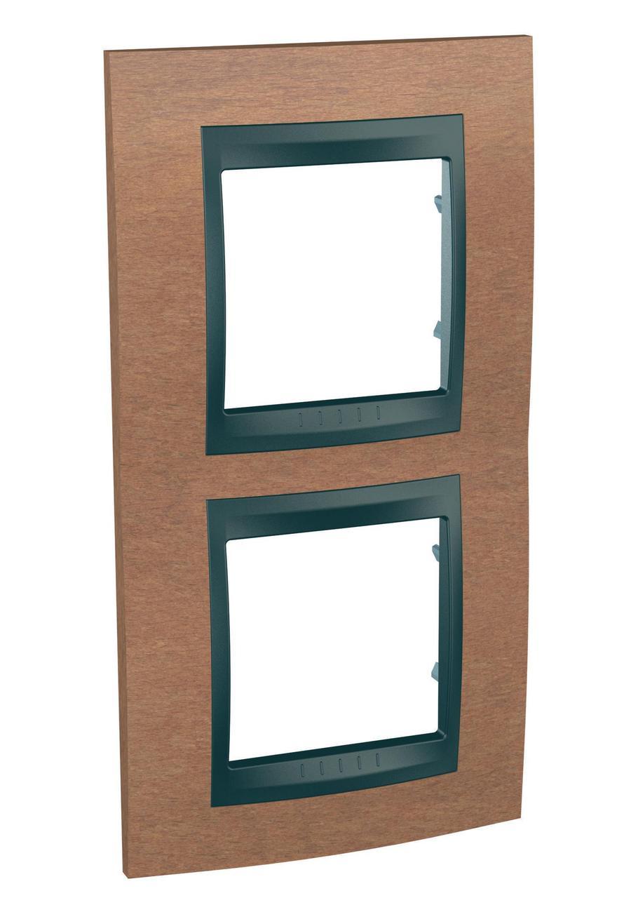 Рамка 2-ая (двойная) вертикальная, Дерево Вишня/Графит, серия UNICA TOP/CLASS, Schneider Electric