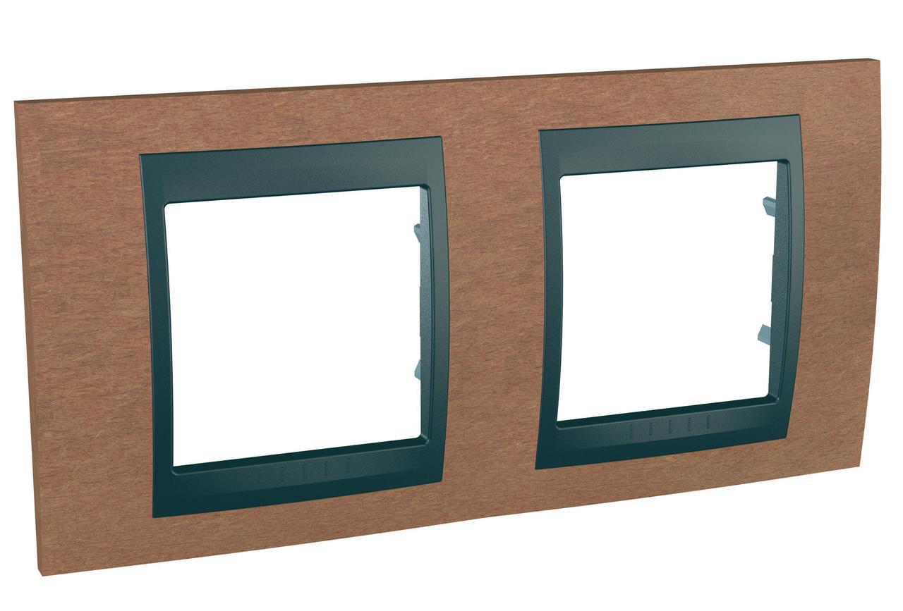 Рамка 2-ая (двойная), Дерево Вишня/Графит, серия UNICA TOP/CLASS, Schneider Electric