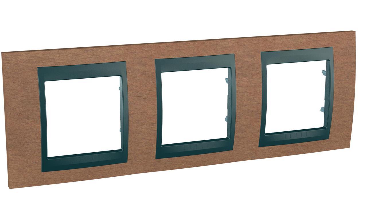 Рамка 3-ая (тройная), Дерево Вишня/Графит, серия UNICA TOP/CLASS, Schneider Electric