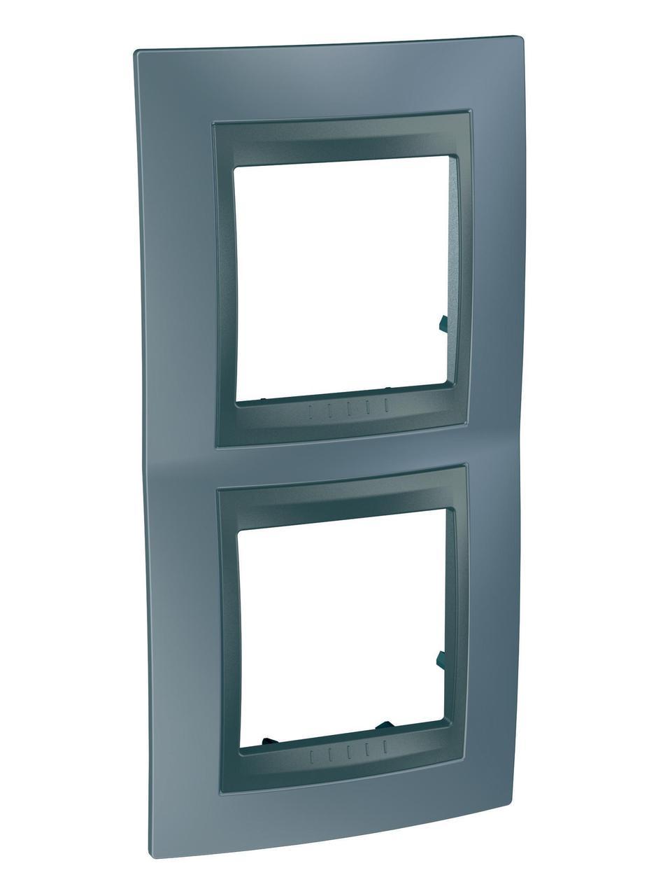 Рамка 2-ая (двойная) вертикальная, Грэй/Графит (металл), серия UNICA TOP/CLASS, Schneider Electric