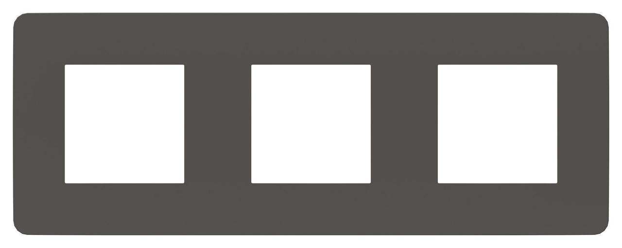Рамка 3-ая (тройная), Дымчато-серый/Антрацит, серия Unica Studio, Schneider Electric
