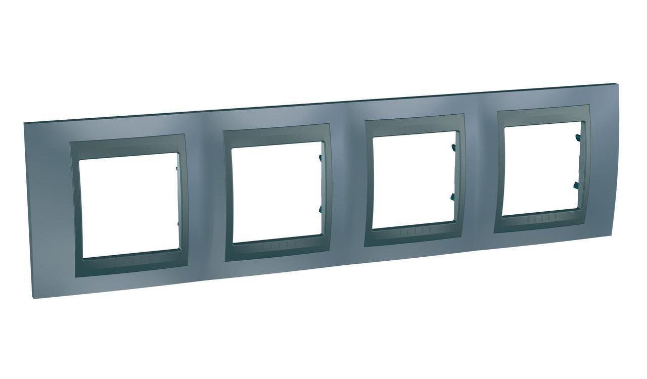 Рамка 4-ая (четверная), Грэй/Графит (металл), серия UNICA TOP/CLASS, Schneider Electric